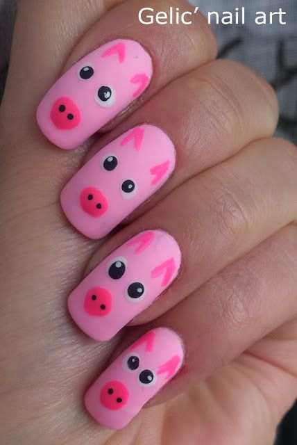 Gelic' nail art: Pink pig nail art - Best 25+ Pig Nails Ideas On Pinterest Pig Nail Art, Animal Nail