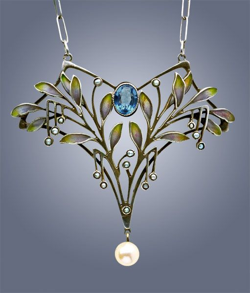 "turnofthe20th: "" Enameled silver pendant with gemstone and pearls, Levinger and Bissinger, ca. 1900 """