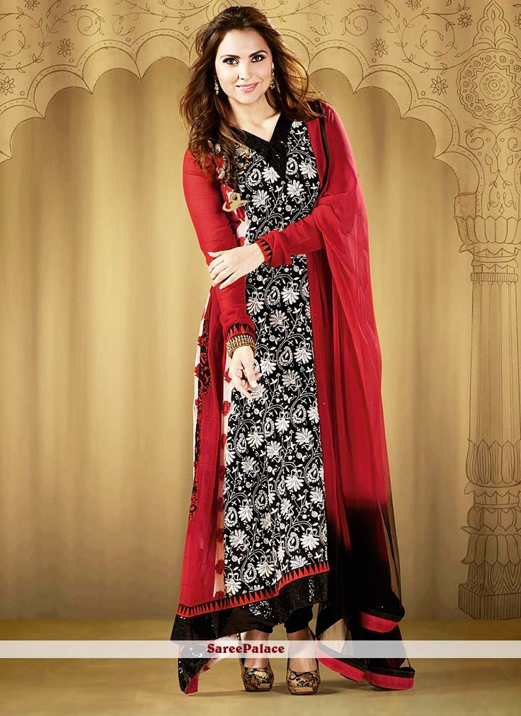 Lara Dutta Style Black And Red Anarkali Suit