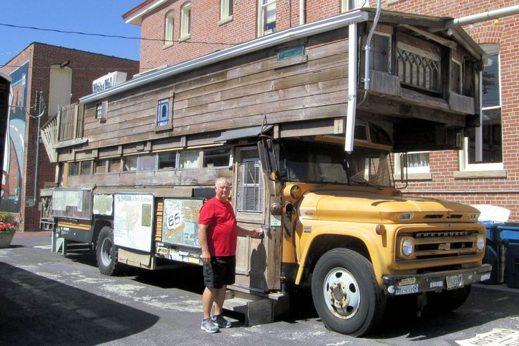 Bob Waldmire's  bus in Pontiac, Illinois.  He travelled up and down Route 66 in this bus numerous times painting murals, etc.