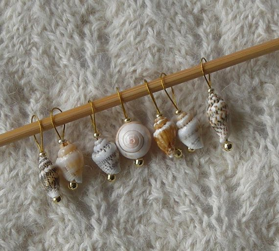Seashell Knitting Stitch Markers - snag free loop markers - tiny seashell beads - set of 7 - three loop sizes available