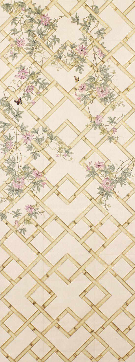 Klassieke stijl elegante handgeschilderde zijden behang schilderen WIJNSTOK met bloemen en vogels vele patronen en achtergrond optioneel