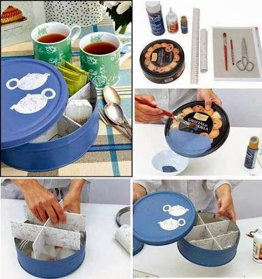 come riciclare una scatola di latta per biscotti e farla diventare una scatola porta thé con divisori