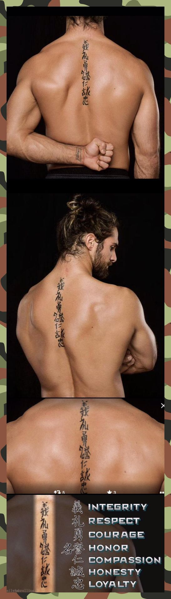 Seth Rollins spin tattoo I really like. Its the seven virtues of The Bushido Code
