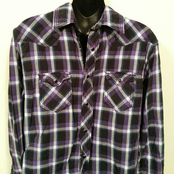 Mens Button Down Top Black white and purple button down top with black snap buttons. Dress up or down. Thanks for shopping! Arizona Jean Company Tops Button Down Shirts