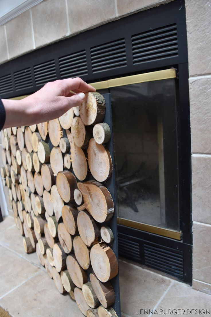 DIY: Tutorial on how to make a FAUX STACKED LOG FIREPLACE SCREEN. check out how-to make it at www.JennaBurger.com