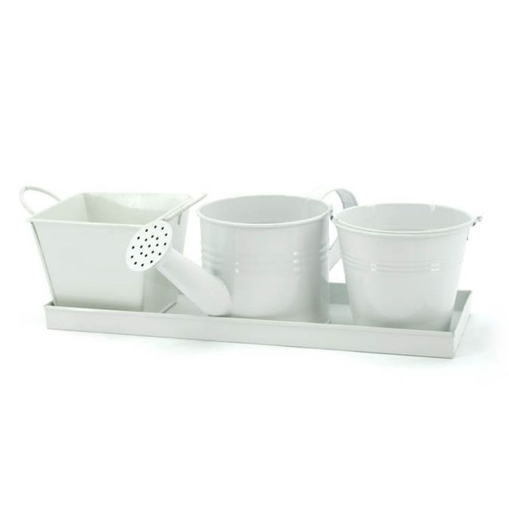 Tray with Three Diff Buckets S/4 - White (04-TRAY1) | Oceans Floral -Tinware is very versatile, whether you want troughs for hampers or corporate gifts, or buckets and tall tins for flowers; our v-shape tins with ear handles are great for displaying flowers plus our plastic pots and vases pop inside nicely for a water tight option. Our smaller tins work great for gifts, posies, wedding favours, children's parties and baby showers.