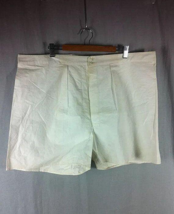 96.99 kr. Vtg French Deadstock 1930s 1940s Linen Shorts Henley by wearship
