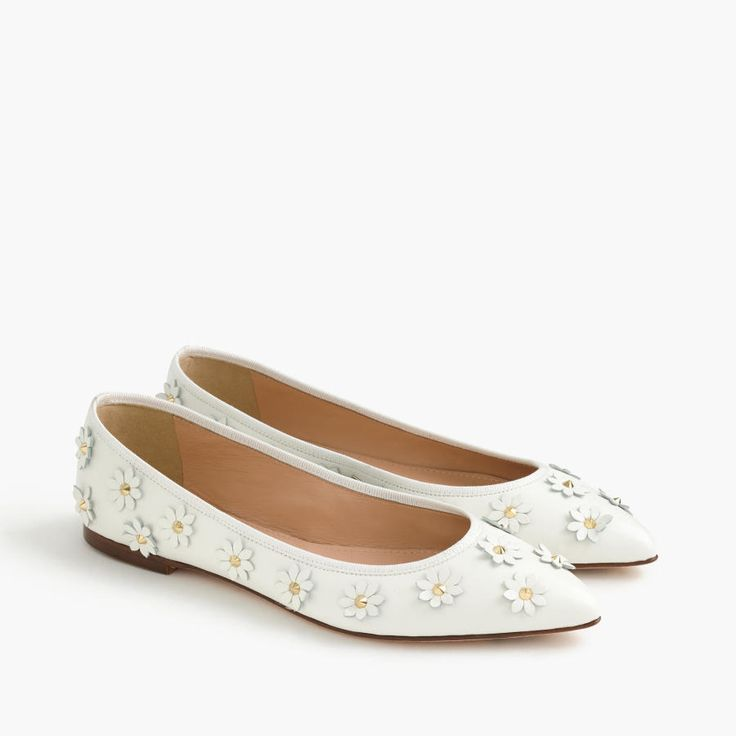 J.Crew Gemma Leather Flower Flats: http://www.stylemepretty.com/2016/05/15/unique-bridal-accessories-wedding/