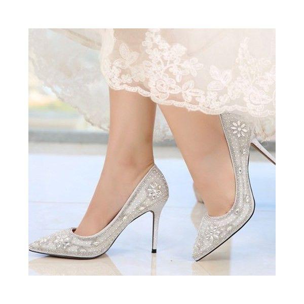 09b6114f354 Women s Wedding Shoes Silver Bridal Heels Rhinestone Pointy Toe Stiletto  Heels Pumps Fall Fashion Wedding Dresses
