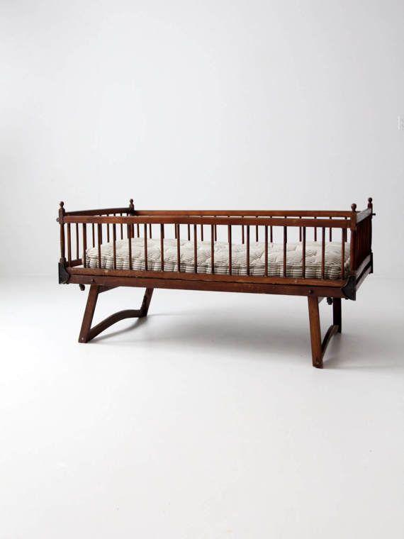 Victorian children's bed antique folding crib