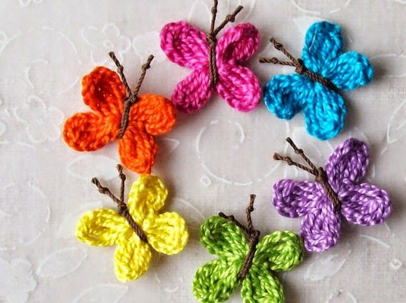 Mariposas de primavera tejidas al crochet - con patrones