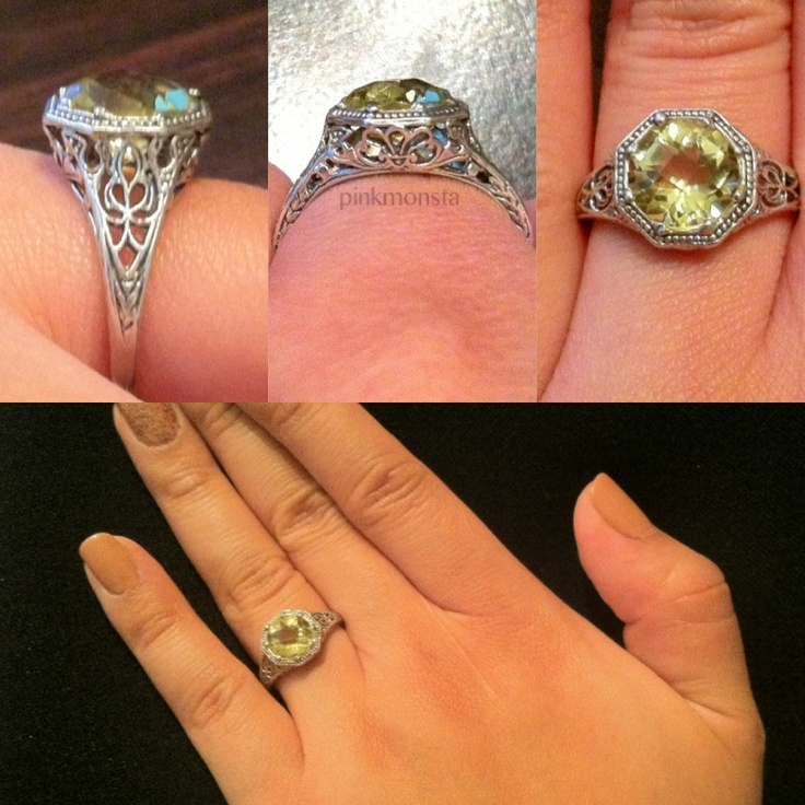 My 2ct Lemon Peridot Art Deco Filigree ring.