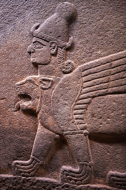 Neo-Hittite orthostat describing the legend of Gilgamesh from Karkamis,, Turkey. Ancora Archaeological Museum. A three headed Sphinx which is a winged lion with a human heas and a bird of preys head on the end of its tail Hittita culture