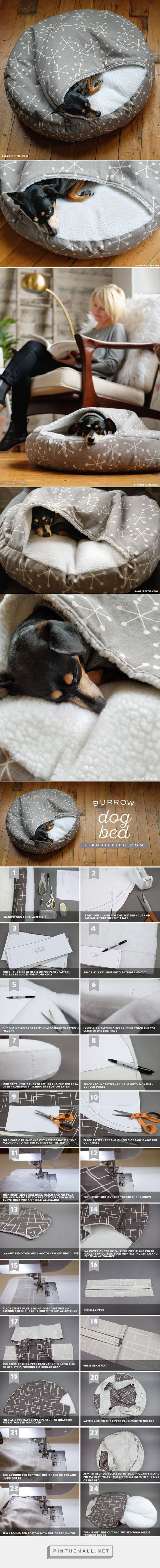 DIY Pet Bed - Pawsome! DIYPets I PetBed I HomeMadePetBed I DIY Pet Projects - Tap the pin for the most adorable pawtastic fur baby apparel! You'll love the dog clothes and cat clothes! <3