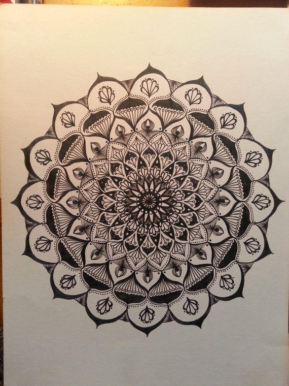 mandala art print hand drawn to inspire by PresentMomentBliss
