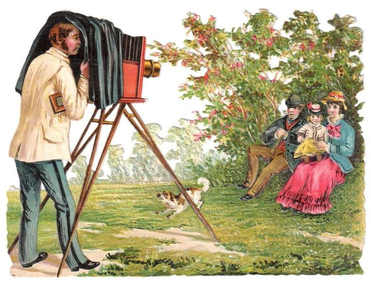 VINTAGE VICTORIAN DIE CUT PHOTOGRAPHER OLD CAMERA FAMILY DOG COUNTRY FIELD