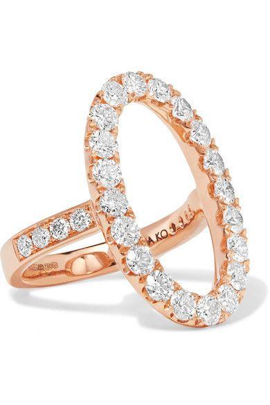 Shop ANITA KO Oval Halo 18-karat rose gold diamond ring