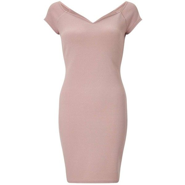 Miss Selfridge Dusty Pink Sweetheart Neck Bardot Dress ($35) ❤ liked on Polyvore featuring dresses, pink, pink sweetheart neckline dress, brown pink dresses, sweetheart dresses, brown dresses and dusty pink dress
