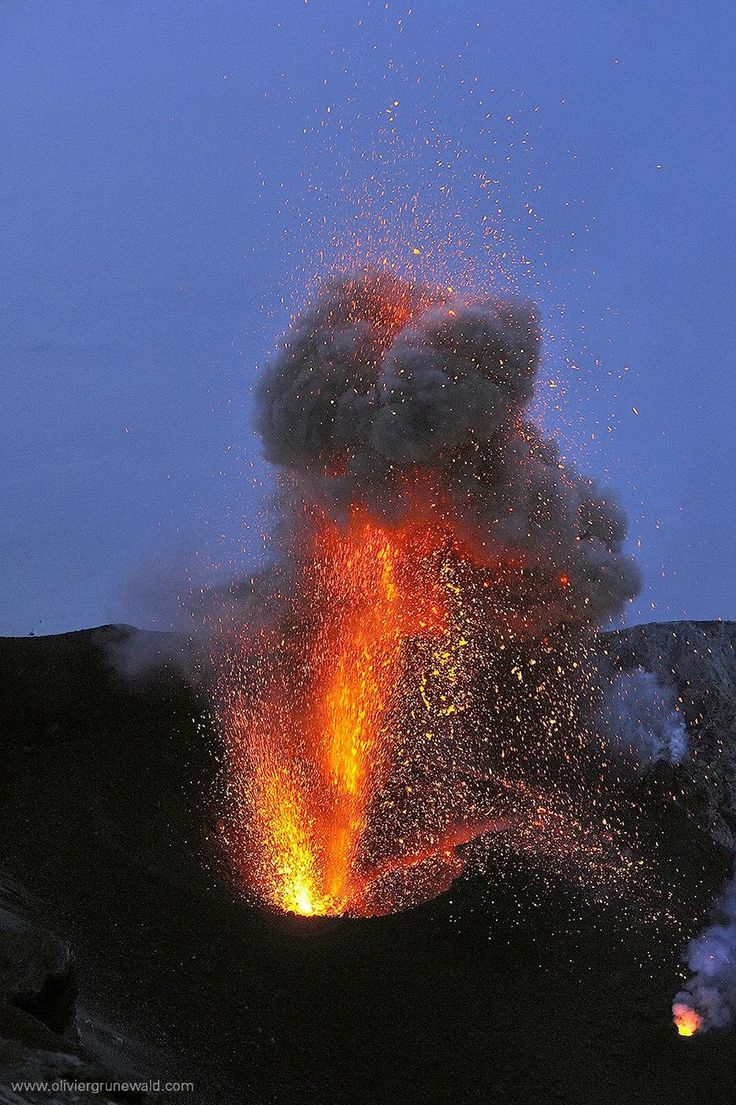Lava Fountains on Stromboli, Aeolian Island, Italy, Photo by Olivier Grunewald