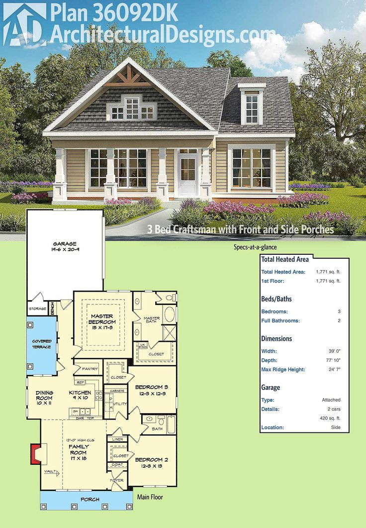 Saving again because this is actually really perfect!! Architectural Designs 3 Bed Craftsman House Plan 36092DK has a front and a side covered porch to enjoy the beautiful weather on. The family room has a vaulted ceiling to lighten up your time with family and friends. The master bedroom has dramatic trayed ceilings. At 1750+ square feet it's modest and functional. Ready when you are. Where do YOU want to build?