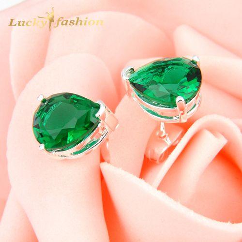 Promotion Jewelry Fire Green Quartz Wedding Stud Earrings Russia USA Australia Earrings Bijoux