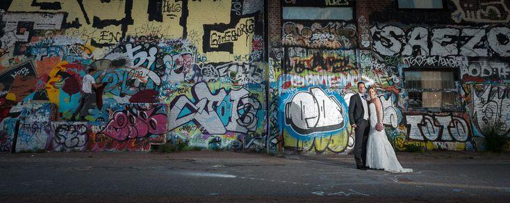 Bröllopsfotograf Göteborg - Bröllopsporträtt vid Röda Sten