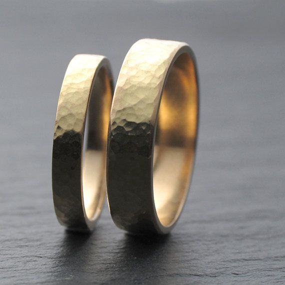 Hammered Wedding Band Set: 18ct Yellow Gold Wedding Ring Set, Two Wedding Rings, 3mm x 1.3mm Womens Ring, 5mm x 1.3mm Mens, Custom Size