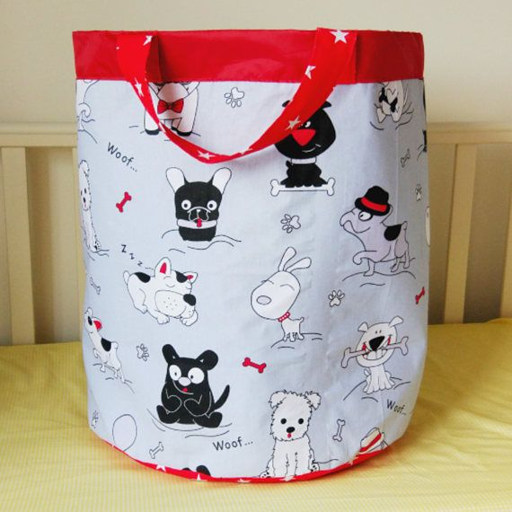 Home & Living  Storage & Organization  Toy Storage  basket for toys  Toy storage  Toy box  fabric basket  laundry basket storage bin  laundry bag  dogs print  kids storage  toy storage bag  kids storage bag  stars print  grey and red nursery