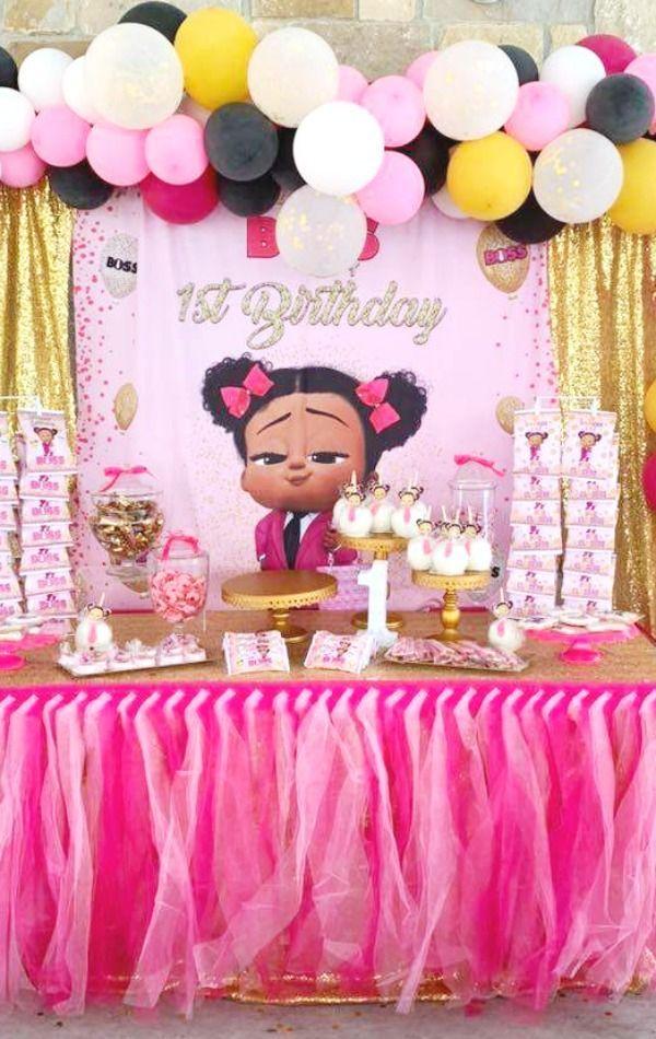 Boss Baby Birthday Party Ideas Photo 2 Of 11 1st Birthday Party For Girls Baby Birthday Party Girl Girl Birthday Themes