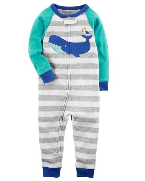014c5db84af4 Toddler Boy 1-Piece Whale Snug Fit Cotton Footless PJs from Carters ...
