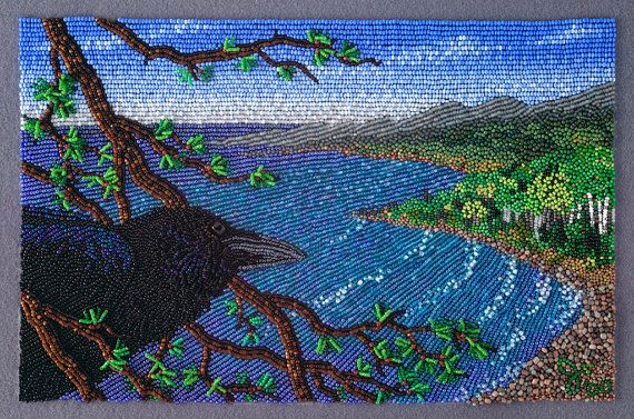 OBSERVING THE WATERS print of bead painting by JoWoodBeadArt, $120.00