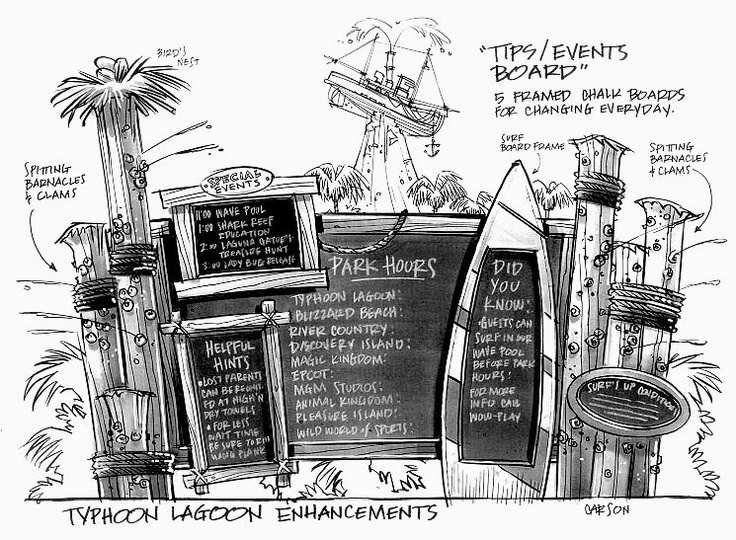 Typhoon Lagoon Tips/Events Board by Don Carson. I love the spitting barnacles. #disney #imagineering