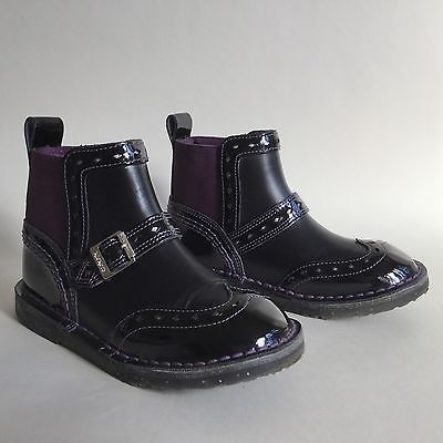 KICKERS Girl Child's Black & Purple Brogue Chelsea Boot Shoe Size UK 11 EU 29  | eBay