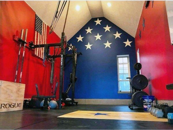 Red White And Blue American Flag Themed Garage Gym Ideas Homegymdecor Home Gym Flooring Gym Decor Home Gym Design