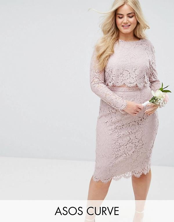 e46ee355efe ASOS CURVE WEDDING Lace Long Sleeve Midi Pencil Dress