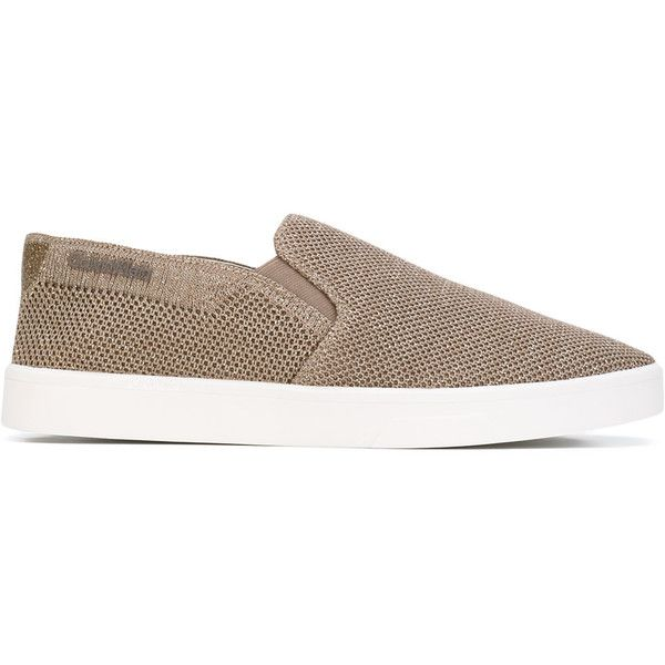 Calvin Klein glittery slip-on sneakers (365 ILS) ❤ liked on Polyvore featuring shoes, sneakers, calvin klein shoes, leather slip-on shoes, leather slip on shoes, leather shoes and slip-on shoes