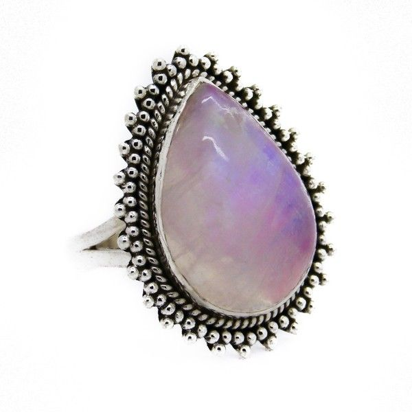 Sterling Silver Pink Rainbow Moonstone Twilight Ring (830 HNL) ❤ liked on Polyvore featuring jewelry, rings, sterling silver cocktail rings, sterling silver statement ring, sterling silver rings, bohemian jewelry and teardrop ring
