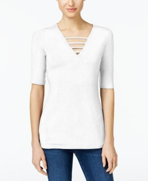 Inc International Concepts Petite Strappy V-Neck Top, Only at Macy's - White P/XL