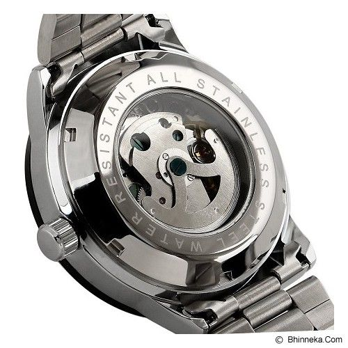 ESS Skeleton Stainless Steel Automatic Mechanical Watch [WM400] - Silver/Black - Jam Tangan Pria Casual