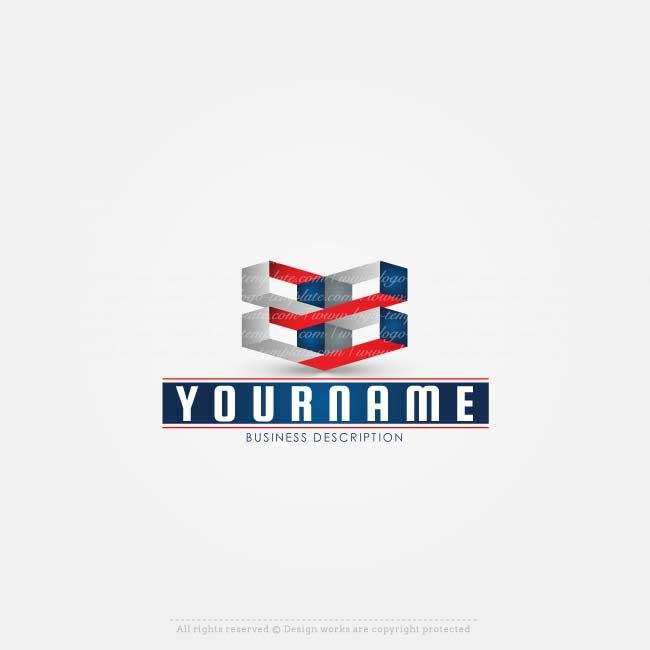 Online Logos store - Online 3D logo template for sale with 3D connected cubes. american flag colors. 3D Logos painted in the colors of the United States of America are suitable for branding a Hi-tech business in the USA, servers company in the United States, a logo for a computer company in the United States, etc. (colors can be changed)  Create a logo