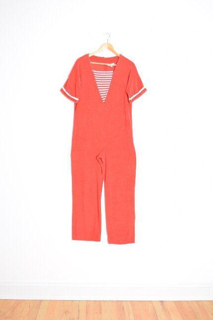vintage 70s jumpsuit terry cloth jumpsuit red by huncamuncavintage