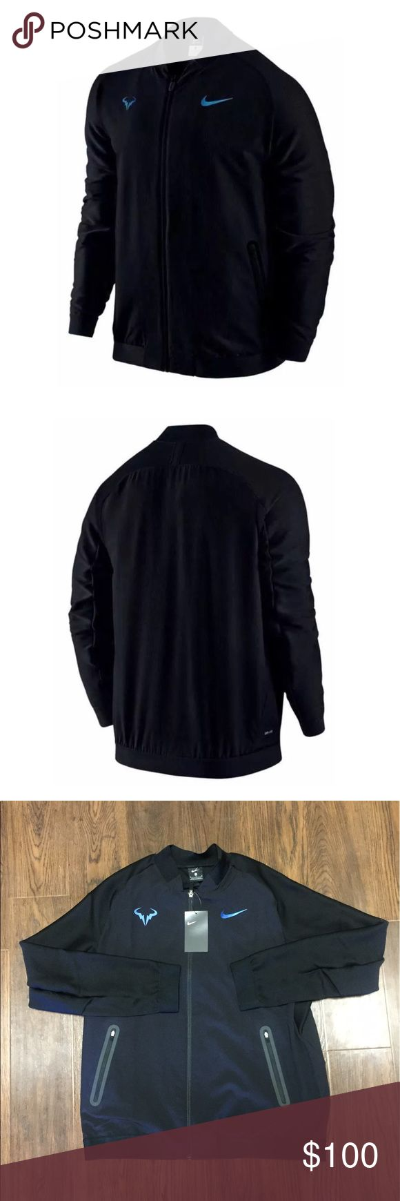 Nike Rafa Rafael Nadal Premier Tennis Jacket NWT Color: Black/Blue  Style Code : 728986-010  Fabric : 89% Polyester/11% Spandex   The Nike Rafa Jacket features a breathable mesh lining with Dri-FIT technology to keep you cool and comfortable during warm ups or cooler days on the court.  Made of a premium woven material in the main body lined with a Dri-FIT mesh.  Sleeves are designed with rib that provides a full range of motion during a warm up  Bonded zipper pockets for secure storage and…