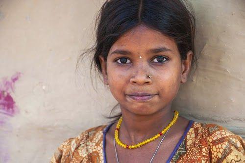 Portrait of little girl in Bodhgaya - India