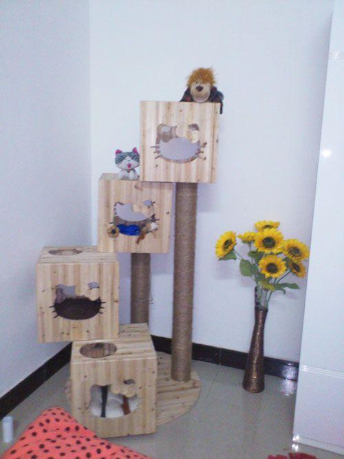 DIY Cats Head Shape Wooden Cats Tree - Meow-Cat.com