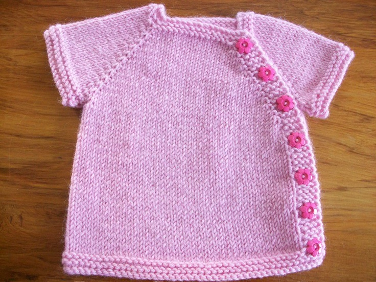 Newborn Cardi - Pink with Pink Flower Buttons