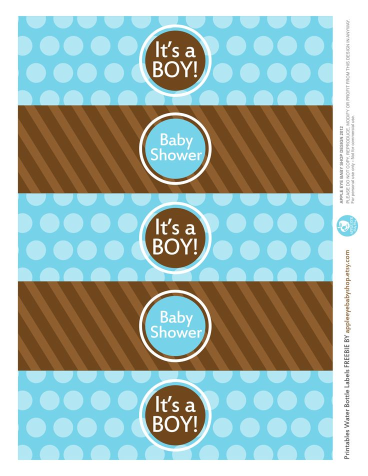 @appleeyebaby  | I have something for you Baby Shower...Free Printables | IT'S A BOY Water Bottle Labels | Blue and Brown. Endless inspiration: DIY Crafts, Paper Goods, Silhouette or Cricut Projects, Mason Jar Tags, Decorative Detail, Favor Tags and more. Enjoy!