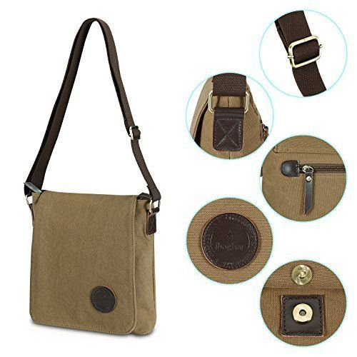 Womens Shoulder Messenger Bag Brown Cotton Canvas Travel Daypack Shopping Gift  #WomensShoulderMessengerBagBrown