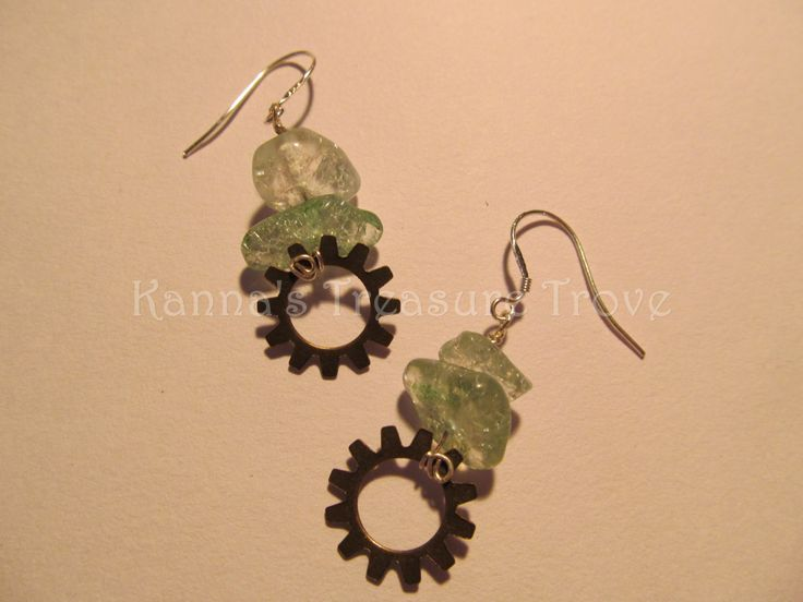 Gear Earrings Crackle Quartz Gearrings Silver Hypo Allergenic Steampunk Nickle Free Blue Green - pinned by pin4etsy.com