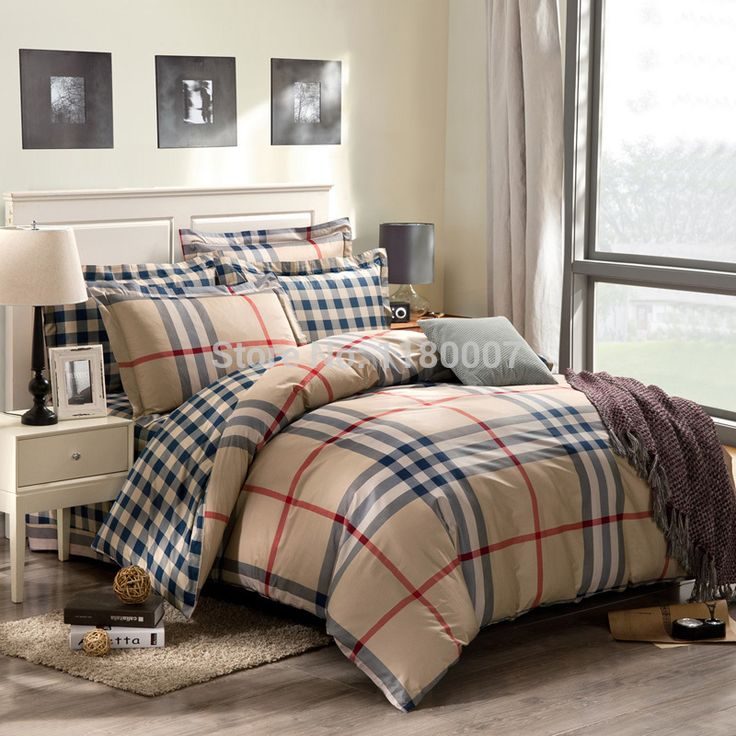 British Style Mutil Tones Checked Bedding Set Khaki